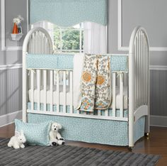 Looking for bumper-less crib bedding? We adore @Liz Mester and Roo: Fine Baby Bedding's aqua greek key bedding that is sans bumpers and includes a great teething guard rail! #bedding #nursery