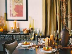 #Thanksgiving table setting ideas...  Golds and ambers pair beautifully with the traditional browns and oranges of fall.   http://www.hgtv.com/entertaining/glittering-fall-table-setting-and-centerpiece-ideas/pictures/page-5.html?soc=pinterest