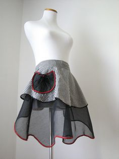 vintage half apron with black and white gingham by JonnyandMags, $15.00