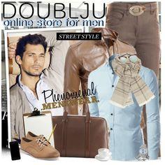 Doublju Men's Front Pocket Leather Biker Jacket  #doublju