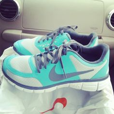 Turquoise and grey Nikes <3