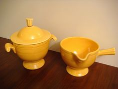 Vintage Fiesta Yellow Sugar & Creamer Set