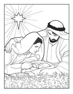 Mary, Joseph, Jesus and the Bethlehem star. Bible coloring page