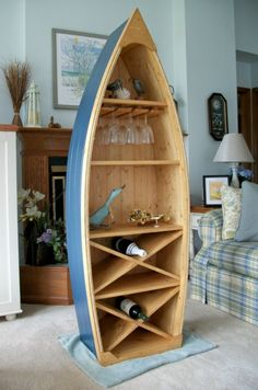 6 Ft Boat Wine Rack Glass Holder bookcase shelf canoe Hand crafted Knotty Pine bookshelf nautical furniture.