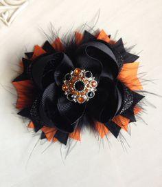 Halloween hair bow Orange and black hair by JoyfulJossyBowtique