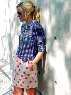 skirt, pattern mixing, polka dots, mixing patterns, mixed patterns, outfit, mixed prints, mix print, mixing prints