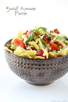 A bright fresh Spring pasta with basil, avocado, bacon, and parmesan cheese!
