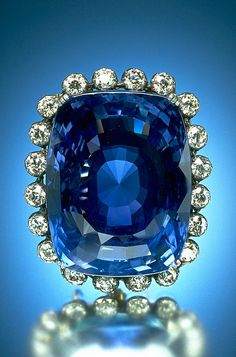 The 423 carat Logan Sapphire was cut from a crystal mined in Sri Lanka and is one of the world's largest faceted blue sapphires (it is about the size of an egg). It is the heaviest mounted gem in the National Gem Collection, and in its brooch setting is framed by twenty round brilliant-cut diamonds, totaling approximately 16 carats.