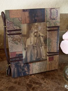 Homemade picture frame idea - use an old map!