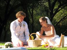 Bride and Groom with Picnic Lunch