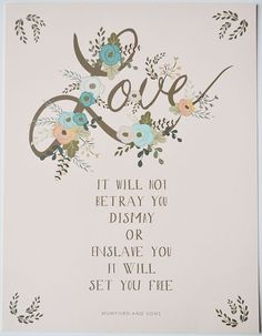 Love Mumford and Sons Quote print for your by firstsnowfall