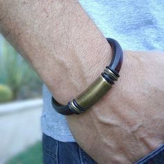Men's Espresso Licorice Leather Bracelet: Free Shipping. Genuine Leather, Brass-Plated Pewter with Magnetic Clasp