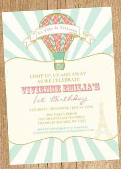 What a great invitations at a Hot Air Balloon party!  See more party ideas at CatchMyParty.com!  #partyideas #balloon