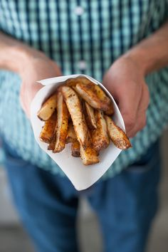 BAKED CAJUN STYLE FRENCH FRIES -- uses 4 large russet potatoes, makes 6 servings (or...you know...2 servings)