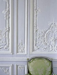 antique white french paneling...