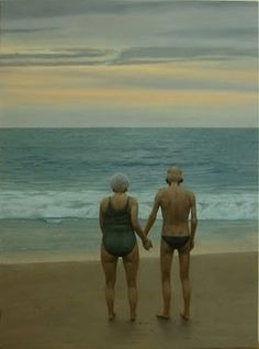 . old age, beaches, heart, hard times, at the beach, sea, aunts, friend, holding hands