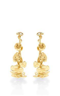 Nympheas 18K Gold-Plated Hoop Earrings by Aurélie Bidermann Now Available on Moda Operandi