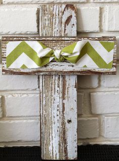 Cute Rustic Wooden Cross but w/ more festive ribbon for christmas