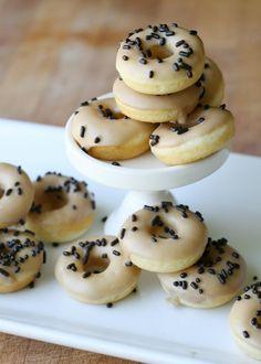 Baked Mini Cake Doughnuts with Maple Glaze {Recipe}
