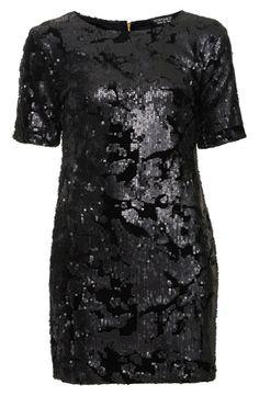 Topshop Sequin Velvet Little Black Dress
