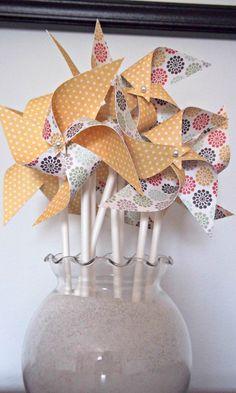 Wedding Paper Pinwheels Yellow Polka Dots Unique by KlipsNscraps, $21.00