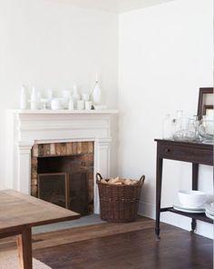 all white mantel...modern hepburn