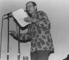 """Yevgeny Yevtushenko, Russian poet, reads at California State University, Northridge (CSUN), 1985. Born and raised in Siberia, Yevtushenko first published in 1949; in 1957, he was expelled from the Literary Institute for """"individualism."""" His works included criticisms of Stalinism and Soviet anti-Semitism. CSUN University Digital Archives."""