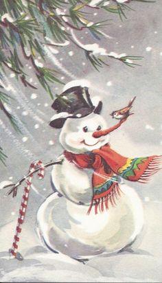 snowman scarf, vintag snowman, snowmen card, vintage snowman, snowman photo