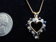 Sapphire w/ Diamond Accents Heart Necklace $45.00