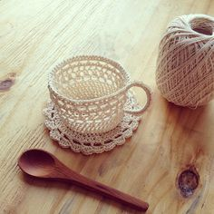 Adorable crocheted tea cup and saucer