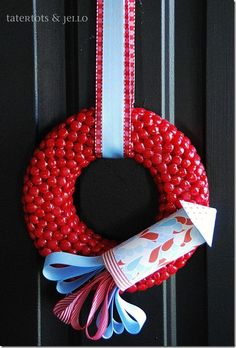 red hot and blue fourth of july wreath  - from tatertots & jello