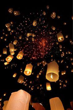 Floating lanterns, Thailand.