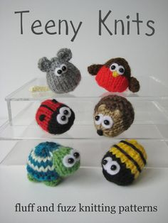 Teeny animal knitting patterns six quick to knit by fluffandfuzz, £2.50