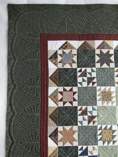 lovely quilting, lovely colors, cool piecing