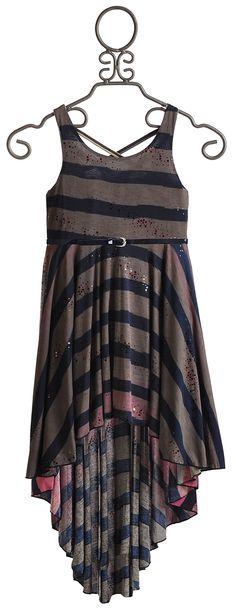Hannah Banana Hi-Low Grey Ombre Stripe Dress for Tweens