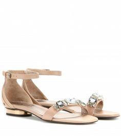 Lanvin - Crystal-embellished leather sandals