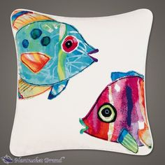 "Two Tropical Fish Pillow 18"" x 18"" linen pillow, shops, tropic fish, tropical fish, pillow 18, fish pillow, decor pillows"