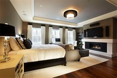 wall colors, idea, fireplac, tray ceilings, bedroom colors, master suite, master bedrooms, hous, dream bedrooms