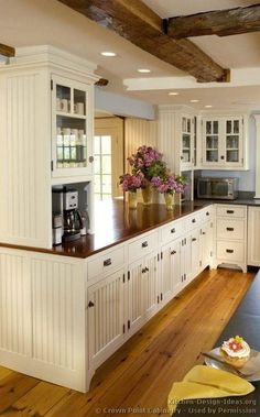 white kitchen cabinets, country cottages, exposed beams, floor, cottage kitchens, white cabinets, countertop, coffee stations, white kitchens