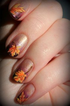Ombré with multicolored leaves thanksgiving nail art, autumn nails, fall nails, autumn fall, nail arts, fall leav, nail design, art nails, thanksgiving nails