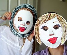 """Paper plate masks from a page titled """"35 Amazing Paper Plate Crafts for Kids!"""""""