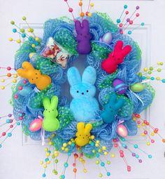Easter Peep Deco Mesh Wreath with Peeps. $130.00, via Etsy.