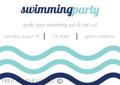 Swimming Pool Party Invitation Printable by PrintYourHeartOut. $10.50 USD, via Etsy.