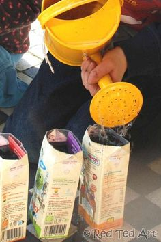 Gardening with kids - juice carton upcycling and Garden Journals.