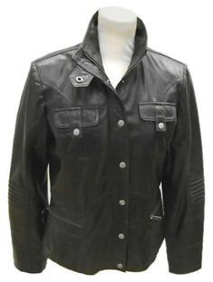 Womens leather jacket custom made style 1090NL front back