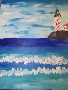 "4th grade acrylic seascape painting; 11"" X 14""; art teacher: Susan Joe"