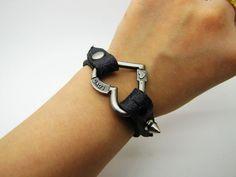 Adjustable Bracelet Leather Bracelet  Love You Love by sevenvsxiao, $8.50