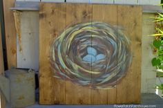 How to paint a bird's nest on wood