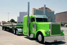 Peterbilt with flat bed trailer