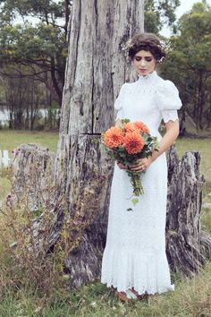 HIgh neck vintage wedding dress from Maggie May
